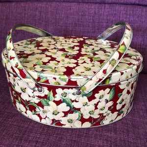 Floral Print Tin Container